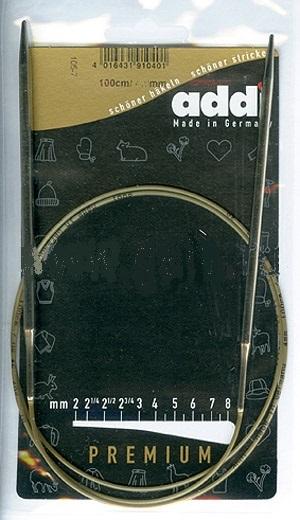 105-7-100/4,0-100 Addi спицы, круговые, супергладкие, никель, №4,0, 100 см.