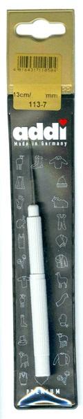 113-7/0.6-13 Addi Крючок вязальный, экстратонкий, с ручкой, №0.6, 13 см.
