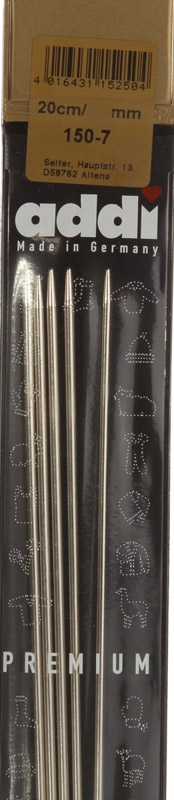 150-7/3,0-20 Addi спицы, чулочные, сталь, №3,0, 20 см. 5 шт