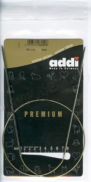 105-7-60/3.5-60 Addi спицы, круговые, супергладкие, никель, №3.5, 60 см.