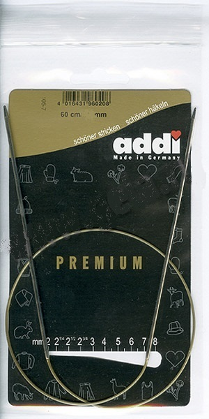 105-7-60/2-60 Addi спицы, круговые, супергладкие, никель, №2, 60 см.