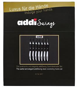 645-2 Набор крючков для вязания с ЭРГОНОМИЧНОЙ пластиковой ручкой addiSwing (размер: №0,5; 0,6; 0,75; 1; 1,25; 1,5; 1,75)
